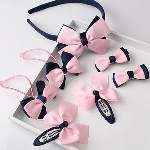 Girls Hair Band Bow Clip 7 Piece Set Navy & Pink